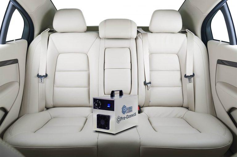 pro ozone machine in car with white interior